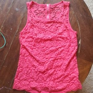Pink lace tank top with zipper in back